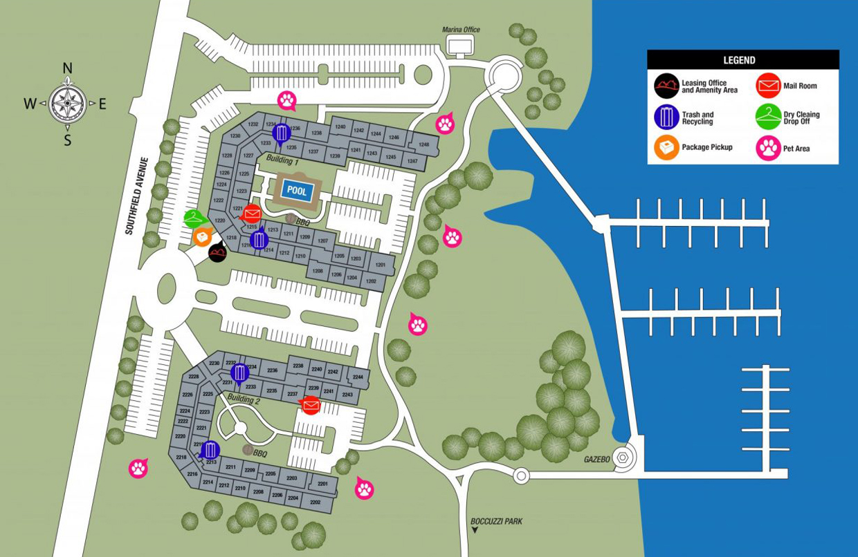 This is a community map that shows the layout of apartments for TGM Anchor Point Apartments in Stamford Harbor, CT.