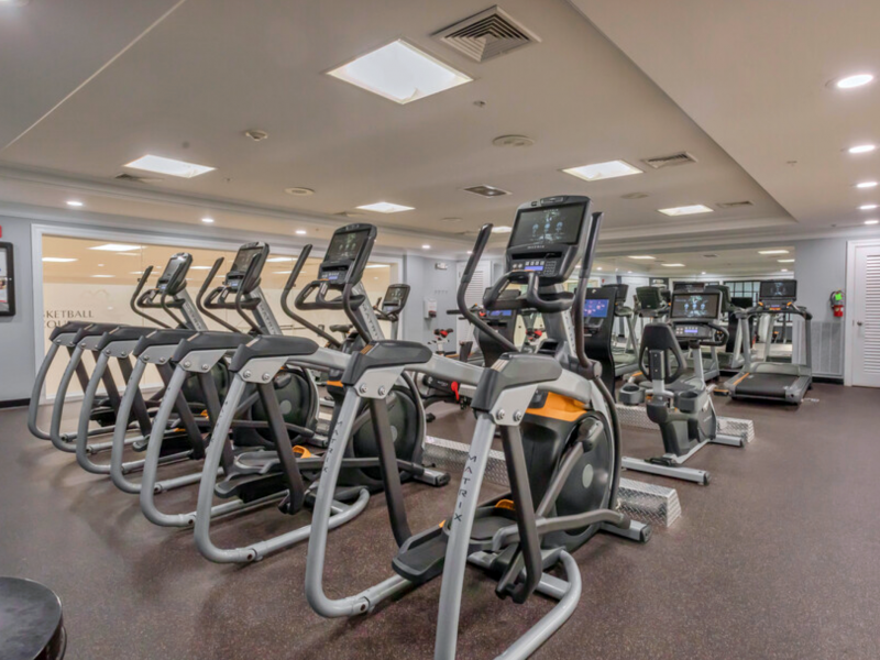 This image shows the TGM Anchor Point Marina fitness gym featuring the lateral trainer machines that move your legs from side to side.