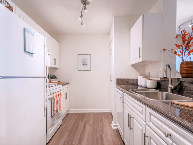 This image shows the premium apartment features, specifically the kitchen area with a high-quality kitchen bar or Island kitchen and newly renovated gourmet-inspired kitchens with high-end details.