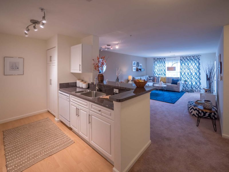 TGM Anchor Point Apartments Kitchen island and living room