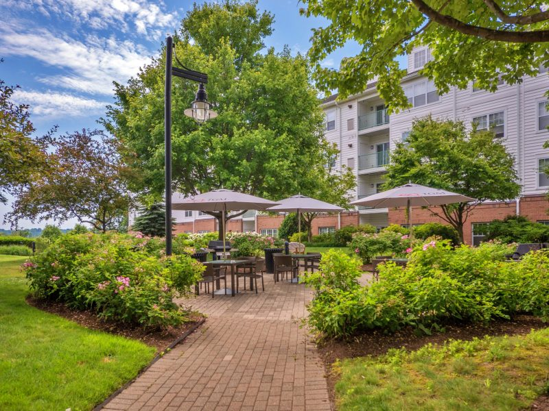 This image shows the ideal outdoor balcony with a dining table, sitting areas, and a gas grill. Accessible to the waterfront and any cafe nearby.